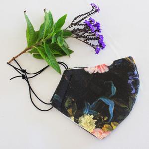 Black Vintage Floral Mask for Women