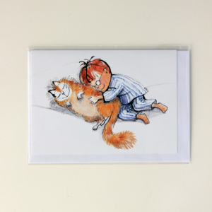 Boy with his cat – Card