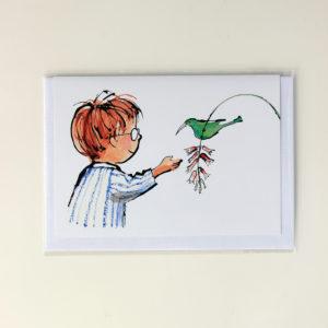 Alida Bothma Card Boy with Sugarbird