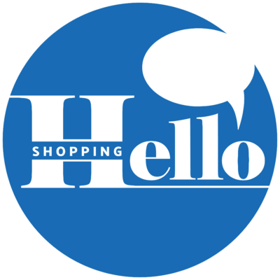Hello Shopping Logo - solid white background