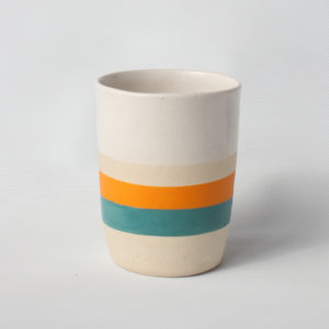 eve art ceramic striped mug orange