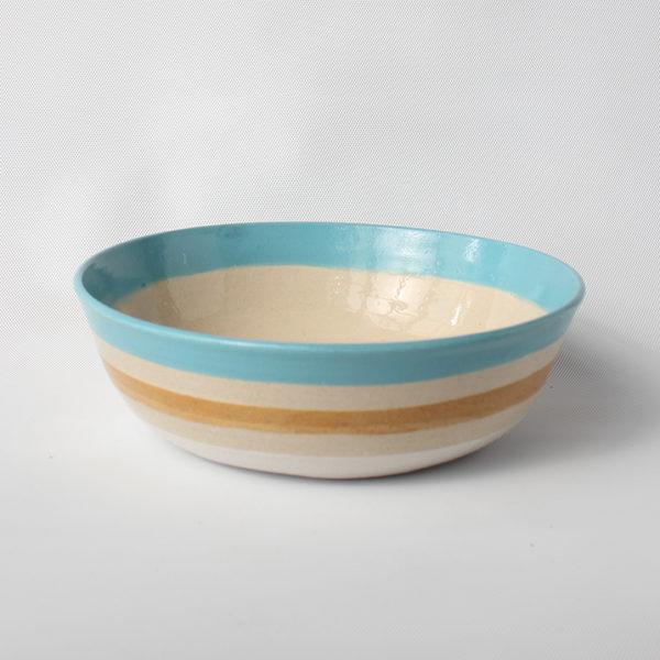 eve art striped ceramic bowl blue