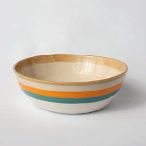 eve art striped ceramic bowl orange