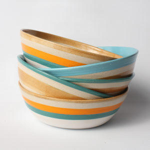 eve art striped ceramic bowl stack