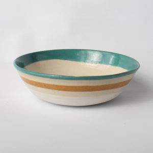 eve art striped ceramic bowl teal