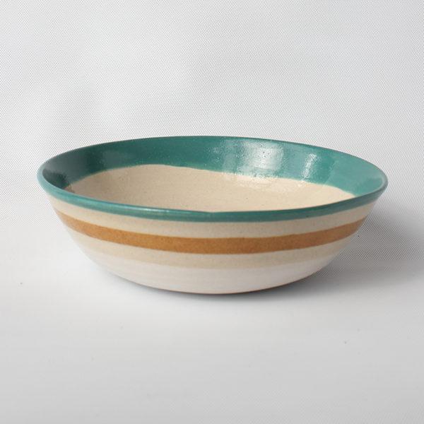 eve art striped ceramic bowl teal