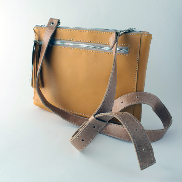 Bokmakierie yellow leather bag