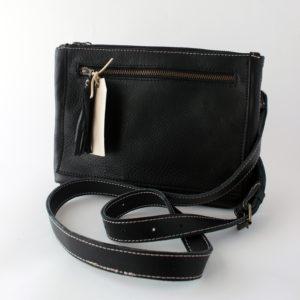 Bokmakierie black leather bag