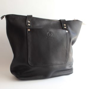 bokmakierie leather tote bag black