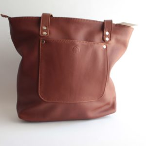 bokmakierie leather tote bag brown